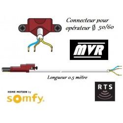 Cable moteur Somfy LT50/LT60 blanc VVF pour moteur radio - 0.5 m