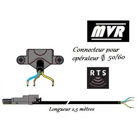 Cable moteur RRF Somfy LT50/LT60 noir pour moteur radio - 2.5 m