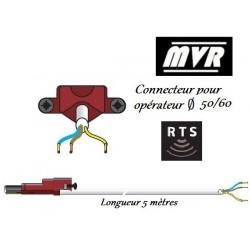 Cable moteur Somfy LT50/LT60 blanc VVF pour moteur radio - 5 m